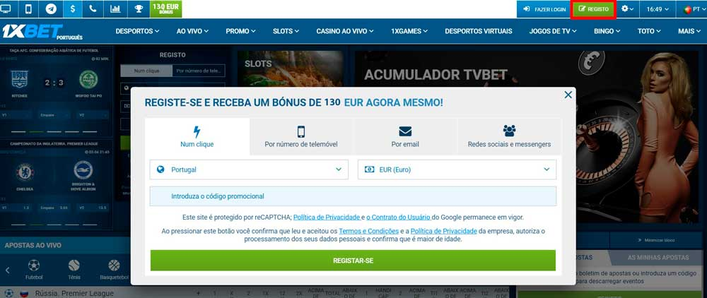 1xbet Portugal Registo